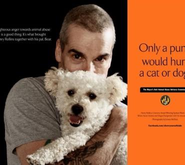 【ヘンリー・ローリンズ編】動物を愛するタフな男達☆動物愛護ポスター「犬や猫を傷つけるのは青二才野郎だけだ」