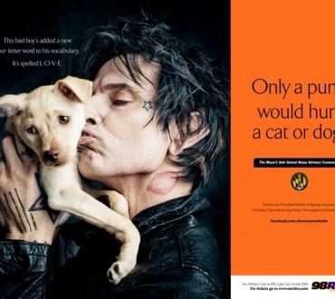 【トミー・リー編】動物を愛するタフな男達☆動物愛護ポスター「犬や猫を傷つけるのは青二才野郎だけだ」