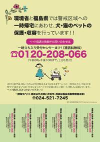 原発一時帰宅時のペット救済の受付周知のポスター(カラー)