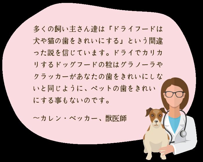 多くの飼い主さん達は「ドライフードは犬や猫の歯をきれいにする」という間違った説を信じています。ドライでカリカリするドッグフードの粒はグラノーラやクラッカーがあなたの歯をきれいにしないと同じように、ペットの歯をきれいにする事もないのです。 〜カレン・ベッカー、獣医師